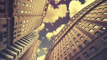 Retro toned skyscrapers in Manhattan NYC, USA.