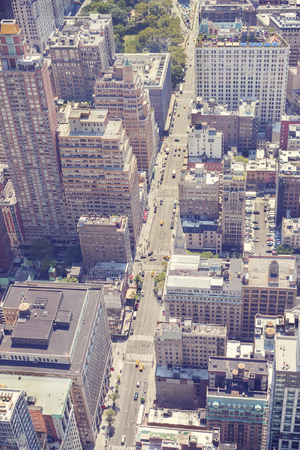 broadway tower: Vintage stylized aerial picture of Manhattan, New York, USA Stock Photo