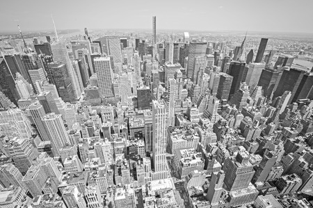 broadway tower: Black and white toned aerial view of Manhattan, New York City, USA.