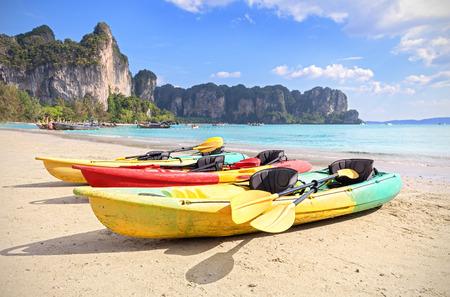ocean kayak: Kayaks on a tropical beach, active holidays concept.
