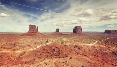 monument valley view: Vintage stylized panoramic view of Monument Valley, USA.