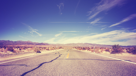 endless: Vintage stylized endless country highway, USA. Stock Photo