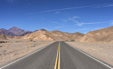 country highway: Endless country highway, Death Valley, USA. Stock Photo