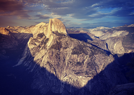 dome of the rock: Vintage toned sunset above Half Dome rock in Yosemite National Park, USA.