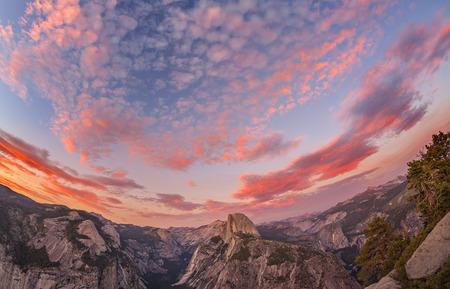 half dome: Fisheye lens photo of sunset above Half Dome, Yosemite National Park, USA.