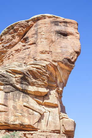 Face shaped rock formation in Canyonlands National Park, Utah, USA.