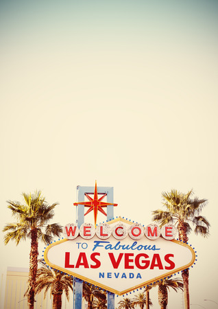 las vegas sign: Retro stylized Welcome To Las Vegas Sign with copy space.