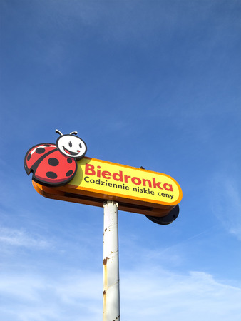 retail chain: Szczecin, Poland - February 7, 2015: Logo sign of Biedronka supermarket, the largest retail chain in Poland, with more than 2650 markets in over 1000 locations.