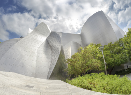 disney: Los Angeles, USA - August 21, 2015:  Fisheye lens photo of Walt Disney Concert Hall designed by Frank Gehry, home of the Los Angeles Philharmonic orchestra and the Los Angeles Master Chorale.