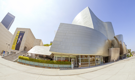 frank   gehry: Los Angeles, USA - August 21, 2015:  Fisheye lens photo of Walt Disney Concert Hall designed by Frank Gehry, home of the Los Angeles Philharmonic orchestra and the Los Angeles Master Chorale.