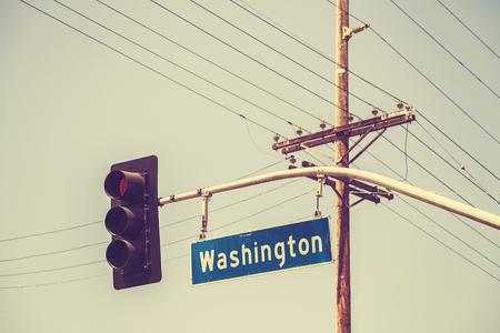 the traffic lights: Retro stylized traffic lights and street sign, USA. Stock Photo
