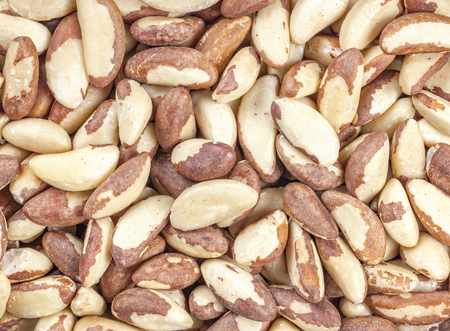 Close up picture of Brazil nuts, food background.