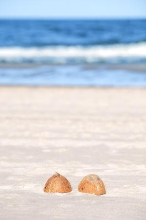 Coconut halves on a beach, shallow depth of field.
