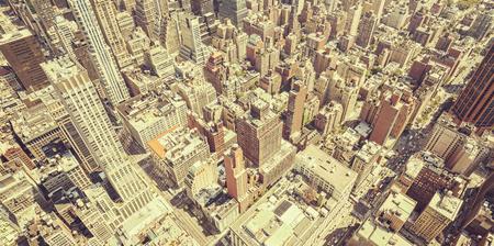 broadway tower: Retro toned aerial view of Manhattan, New York City, USA.