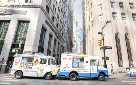 sundaes: New York, USA - August 16, 2015: Ice cream trucks delivering sundaes and cones parked in front of the Wall Street.