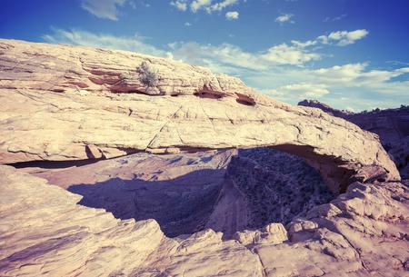 mesa: Vintage toned Mesa Arch in Canyonlands National Park, Utah, USA.