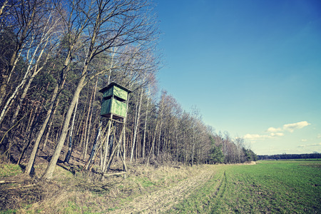 cross processed: Vintage cross processed photo of hunting pulpit at the edge of a forest in spring, Poland.