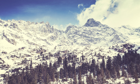 morskie: Retro old film stylized picture of Tatra Mountains, view from Lake Morskie Oko, Poland.