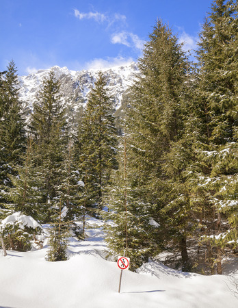 trespassing: No trespassing sign on wooden pole in snow, forest in Tatra Mountains, Poland. Stock Photo