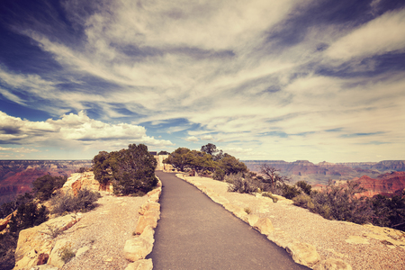 south rim: Vintage toned path to the Grand Canyon South Rim viewpoint, USA.