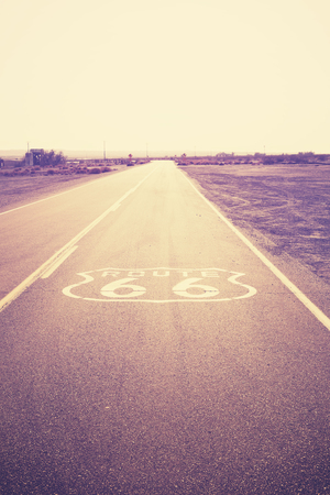 route 66: Vintage filtered picture of the famous Route 66, California, USA. Stock Photo