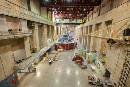 hoover dam: Boulder City, Nevada - September 11, 2015: Hoover Dam interior with generators. It is a concrete arch gravity dam on the border between the U.S. states of Nevada and Arizona. Editorial