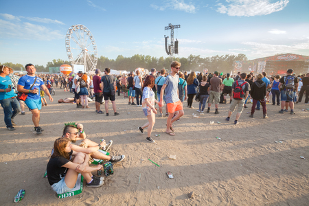 woodstock: Kostrzyn nad Odra, Poland - August 1, 2015: People waiting for concerts on the 21th Woodstock Festival Poland (Przystanek Woodstock), one of the biggest music festivals in Europe.