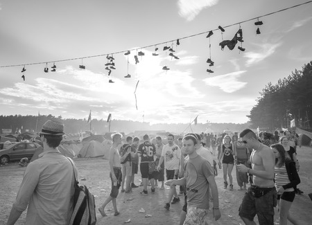 woodstock: Kostrzyn nad Odra, Poland - August 1, 2015: People walking to the main stage on the 21th Woodstock Festival Poland (Przystanek Woodstock), one of the biggest music festivals in Europe.