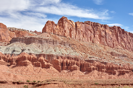 rock layers: Rock layers in Capitol Reef National Park in Utah, USA. Stock Photo