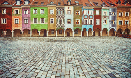 poznan: Vintage stylized colorful houses in Poznan Old Market Square, Poland.