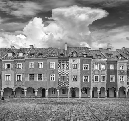 poznan: Black and white photo of houses on Old Market Square in Poznan, Poland. Stock Photo