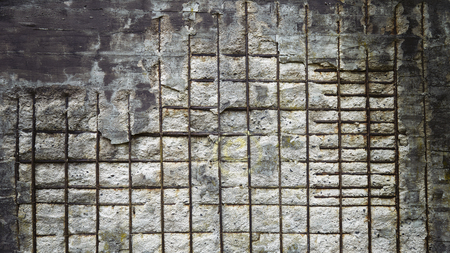 reinforced: Vintage toned background made of reinforced concrete wall. Stock Photo