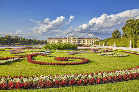 schonbrunn palace: Vienna, Austria - August 14, 2016: Garden in the Schonbrunn Palace complex, former imperial summer residence and a major tourist attraction in the city.