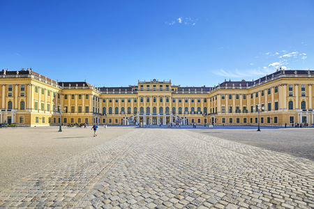 Vienna, Austria - August 14, 2016: Front view of the Schonbrunn Palace, former imperial summer residence and a major tourist attraction in the city. Editorial