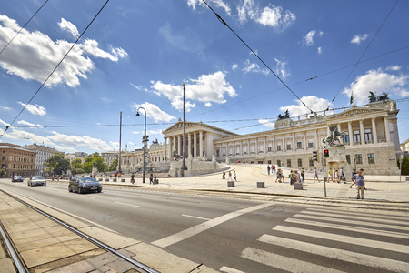 Vienna, Austria - August 14, 2016: The Austrian Parliament Building, it contains over one hundred rooms and is the site of important state ceremonies.