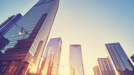 Wijnoogst gestemd Chicago de stad in bij zonsondergang, de VS Stockfoto