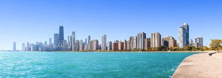 Chicago city skyline, panoramic morning view over Lake Michigan, USA. Stock Photo