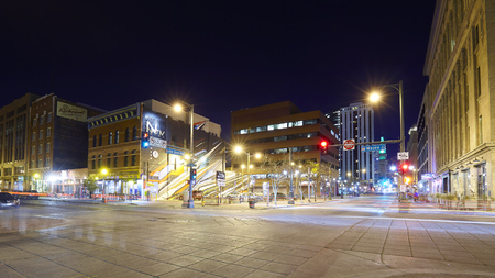 16th street mall: Denver, USA - November 3, 2016: 16th Street Mall at night, famous pedestrian and free shuttle bus street, where numerous shops, restaurants and cafes can be found on 1.25 miles long boulevard.