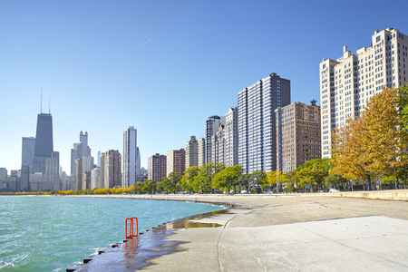 Early morning view of the Michigan Lakefront Trail in Chicago city, Illinois, USA.