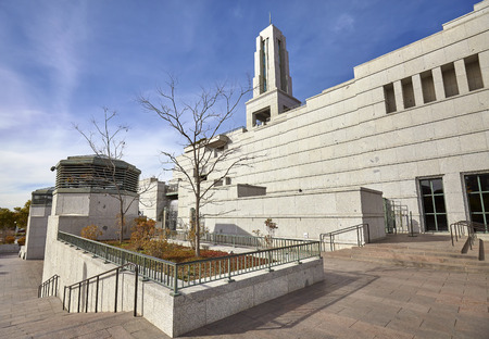 lds: Salt Lake City, USA - October 23, 2016: Exterior of the 21,000 seat LDS Conference Center, believed to be the largest theater style auditorium ever built.