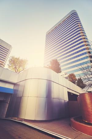 denver at sunrise: Color toned modern buildings in Denver at sunrise, USA.