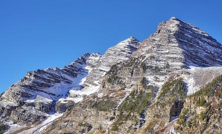 Maroon Bells mountain range, Aspen in Colorado, USA. Stock Photo