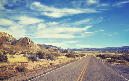 endless: Color toned endless road, travel concept picture, USA.