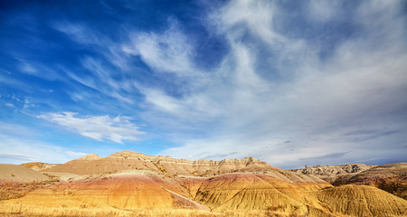 Badlands National Park panoramic view, South Dakota, USA. Stock Photo