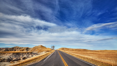 Scenic highway in Badlands National Park, South Dakota, USA.