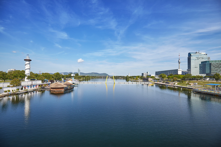 Wide angle view of Danube River in Vienna, Austria.