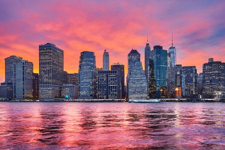 afterglow: Purple sunset over Manhattan, New York City, USA.