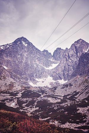 tatra: Vintage toned picture of Lomnicky Peak in the Tatra National Park, Slovakia. Stock Photo