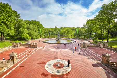 bethesda: New York City, USA - May 26, 2017: Morning at Bethesda Terrace and Fountain in Central Park.