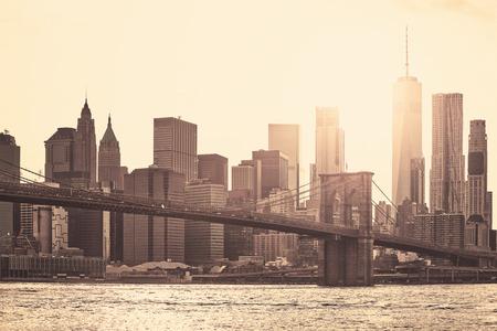 Manhattan at sunset, sepia toning applied, New York City, USA.